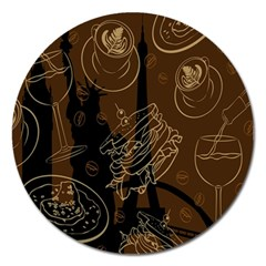 Coffe Break Cake Brown Sweet Original Magnet 5  (round) by Alisyart