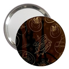 Coffe Break Cake Brown Sweet Original 3  Handbag Mirrors by Alisyart
