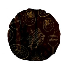 Coffe Break Cake Brown Sweet Original Standard 15  Premium Flano Round Cushions by Alisyart