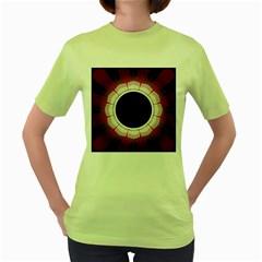 Circle Border Hole Black Red White Space Women s Green T Shirt by Alisyart