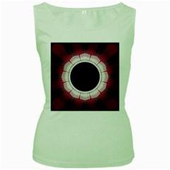 Circle Border Hole Black Red White Space Women s Green Tank Top by Alisyart