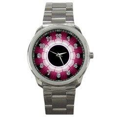 Circle Border Hole Black Red White Space Sport Metal Watch by Alisyart