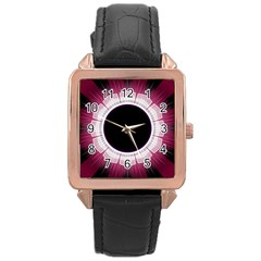 Circle Border Hole Black Red White Space Rose Gold Leather Watch  by Alisyart
