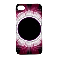 Circle Border Hole Black Red White Space Apple Iphone 4/4s Hardshell Case With Stand by Alisyart