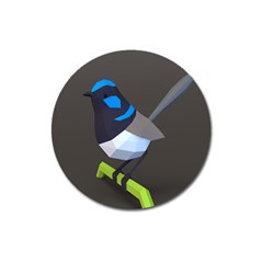 Animals Bird Green Ngray Black White Blue Magnet 3  (round) by Alisyart