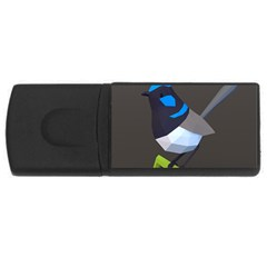 Animals Bird Green Ngray Black White Blue Usb Flash Drive Rectangular (4 Gb) by Alisyart