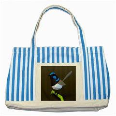 Animals Bird Green Ngray Black White Blue Striped Blue Tote Bag by Alisyart