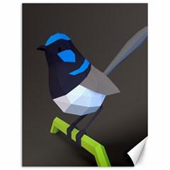 Animals Bird Green Ngray Black White Blue Canvas 12  X 16   by Alisyart