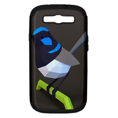 Animals Bird Green Ngray Black White Blue Samsung Galaxy S Iii Hardshell Case (pc+silicone) by Alisyart