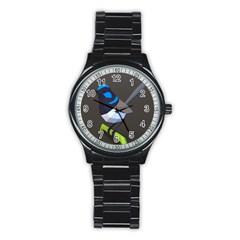 Animals Bird Green Ngray Black White Blue Stainless Steel Round Watch by Alisyart