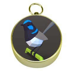 Animals Bird Green Ngray Black White Blue Gold Compasses by Alisyart