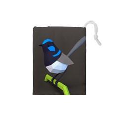 Animals Bird Green Ngray Black White Blue Drawstring Pouches (small)  by Alisyart