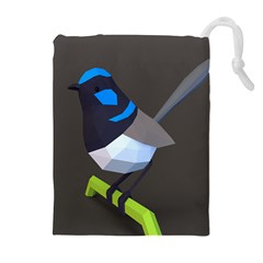 Animals Bird Green Ngray Black White Blue Drawstring Pouches (extra Large) by Alisyart