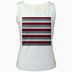 Fabric Line Red Grey White Wave Women s White Tank Top by Alisyart