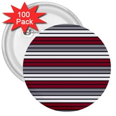 Fabric Line Red Grey White Wave 3  Buttons (100 Pack)  by Alisyart