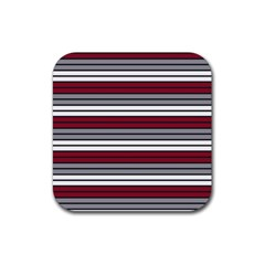 Fabric Line Red Grey White Wave Rubber Coaster (square)  by Alisyart