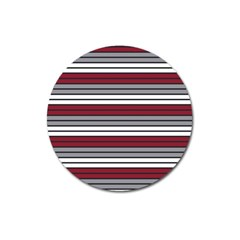 Fabric Line Red Grey White Wave Magnet 3  (round) by Alisyart