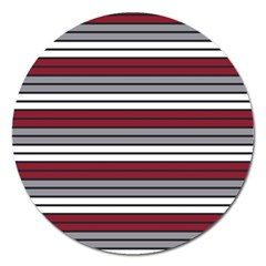 Fabric Line Red Grey White Wave Magnet 5  (round) by Alisyart