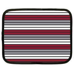 Fabric Line Red Grey White Wave Netbook Case (large) by Alisyart