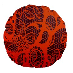 Enlarge Orange Purple Large 18  Premium Round Cushions by Alisyart
