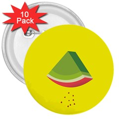 Fruit Melon Sweet Yellow Green White Red 3  Buttons (10 Pack)  by Alisyart