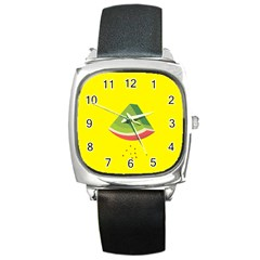Fruit Melon Sweet Yellow Green White Red Square Metal Watch by Alisyart