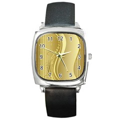 Golden Wave Floral Leaf Circle Square Metal Watch by Alisyart