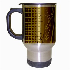 Golden Wave Floral Leaf Circle Travel Mug (silver Gray) by Alisyart