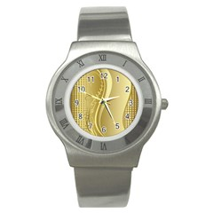 Golden Wave Floral Leaf Circle Stainless Steel Watch by Alisyart