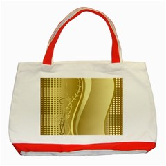 Golden Wave Floral Leaf Circle Classic Tote Bag (red) by Alisyart