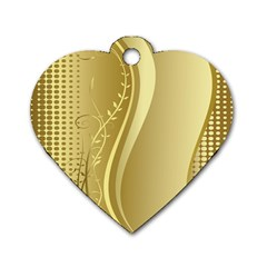Golden Wave Floral Leaf Circle Dog Tag Heart (one Side) by Alisyart