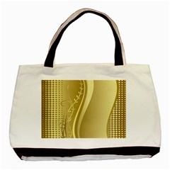 Golden Wave Floral Leaf Circle Basic Tote Bag (two Sides) by Alisyart