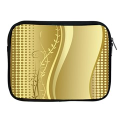 Golden Wave Floral Leaf Circle Apple Ipad 2/3/4 Zipper Cases by Alisyart
