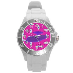 Eye Purple Pink Round Plastic Sport Watch (l) by Alisyart
