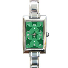 Green White Star Rectangle Italian Charm Watch by Alisyart