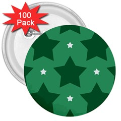 Green White Star 3  Buttons (100 Pack)  by Alisyart