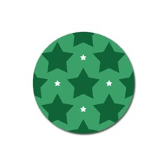 Green White Star Magnet 3  (round) by Alisyart