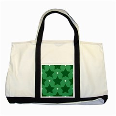 Green White Star Two Tone Tote Bag by Alisyart