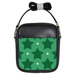 Green White Star Girls Sling Bags by Alisyart