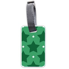 Green White Star Luggage Tags (one Side)  by Alisyart