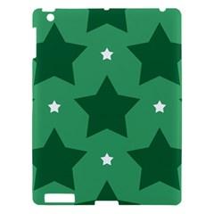 Green White Star Apple Ipad 3/4 Hardshell Case by Alisyart