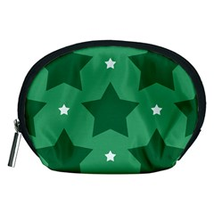 Green White Star Accessory Pouches (medium)  by Alisyart