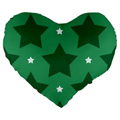 Green White Star Large 19  Premium Flano Heart Shape Cushions by Alisyart