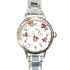 Floral Flower Rose Star Round Italian Charm Watch by Alisyart