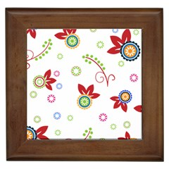 Floral Flower Rose Star Framed Tiles by Alisyart