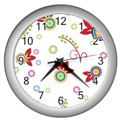Floral Flower Rose Star Wall Clocks (silver)