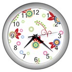 Floral Flower Rose Star Wall Clocks (Silver)  Front