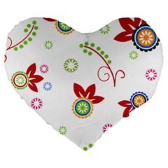 Floral Flower Rose Star Large 19  Premium Heart Shape Cushions by Alisyart
