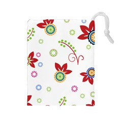 Floral Flower Rose Star Drawstring Pouches (large)  by Alisyart