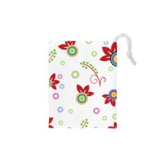 Floral Flower Rose Star Drawstring Pouches (xs)  by Alisyart
